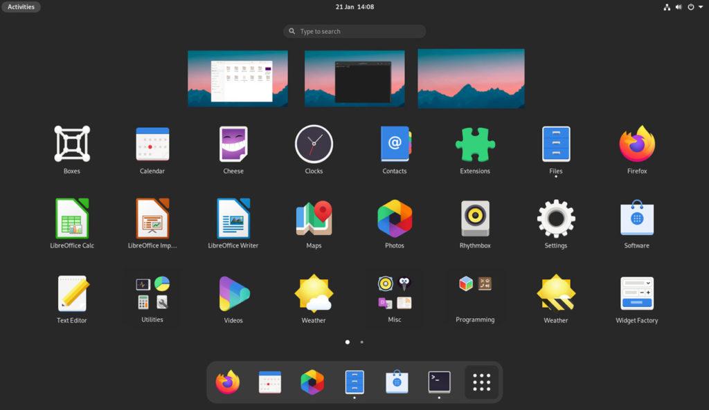 GNOME 40 con dash en la parte inferior y central de la pantalla.